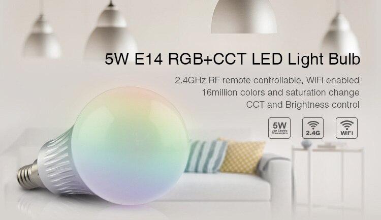 AC86~265V LED Bulb Light Mi Light E14 5W RGB+CCT LED Bulb Intelligent lighting Home Furnishing For Smartphone APP Remote Control keyshare dual bulb night vision led light kit for remote control drones