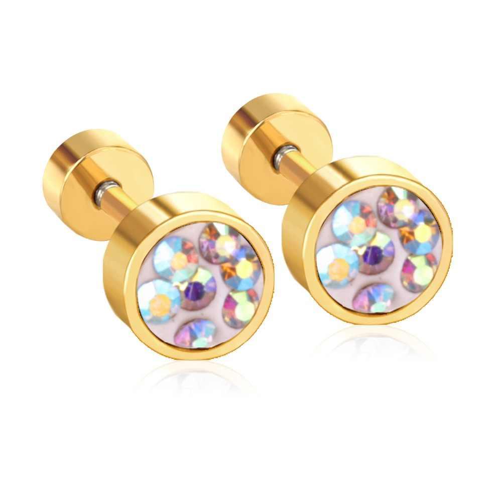 ed98e071e ... Hot Sale Colorful CZ Stone Screw Stud Earrings For Women/Girl Stainless  Steel Earrings Fashion ...
