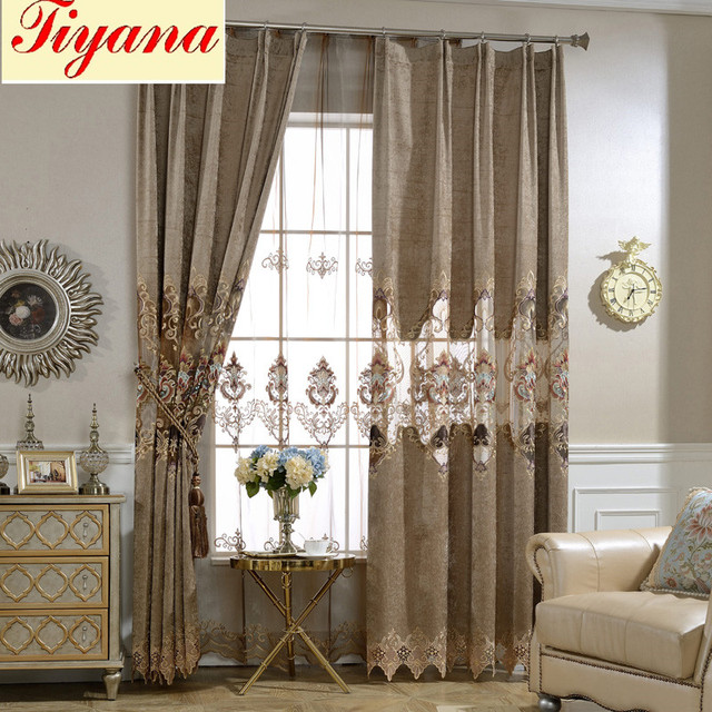 European brown royal luxury curtains for bedroom window curtains for living room elegant drapes european curtains