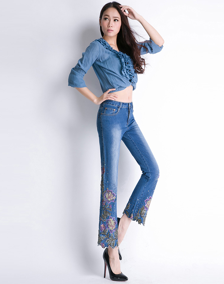 KSTUN FERZIGE Women Jeans High Waist Stretch Floral Embroidered Flares Bell Bottoms Hand Beading Slim Fit Boot Cut Ankle-length Pants 17