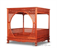 Factory Can Be Customized King Full Bed Frame Chinese Retro Classic Double Canopy Pencil Post Bed