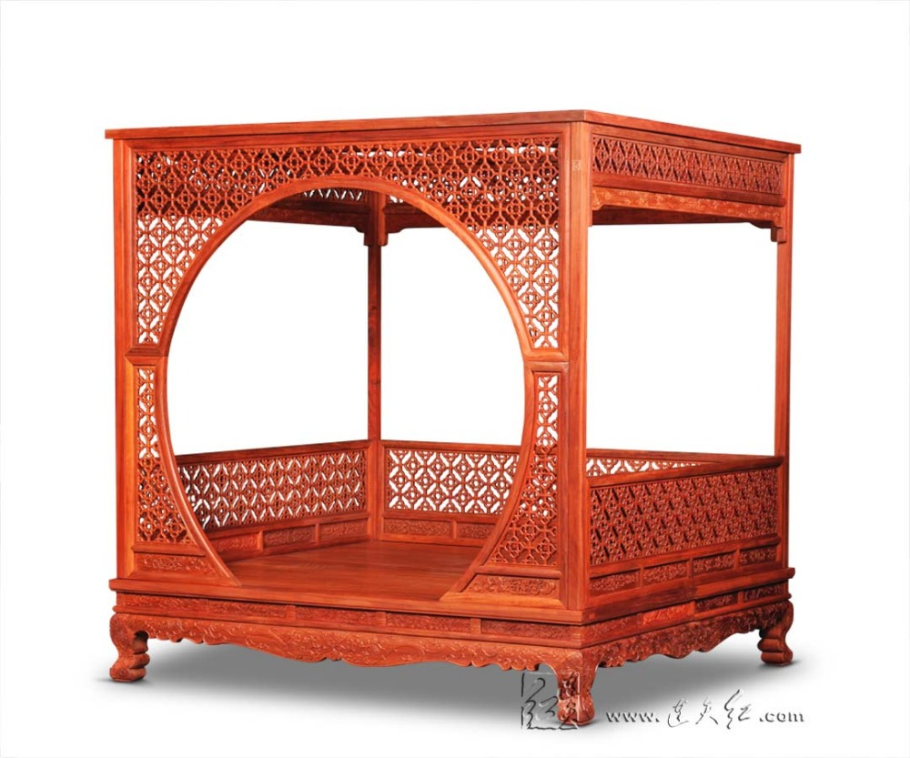 Factory can be customized King full <font><b>Bed</b></font> Frame Chinese Retro Classic double canopy Pencil Post <font><b>bed</b></font> Bedframed Solid Wood rosewood