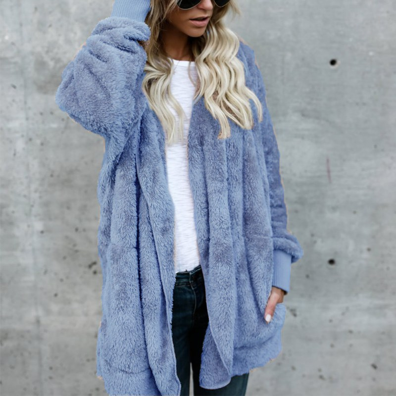 Women Hooded Coats Fur Woolen Jackets Winter Autumn Female Long Parka Outwear Cardigan Long Sleeve Casual Cashmere Coat 2017
