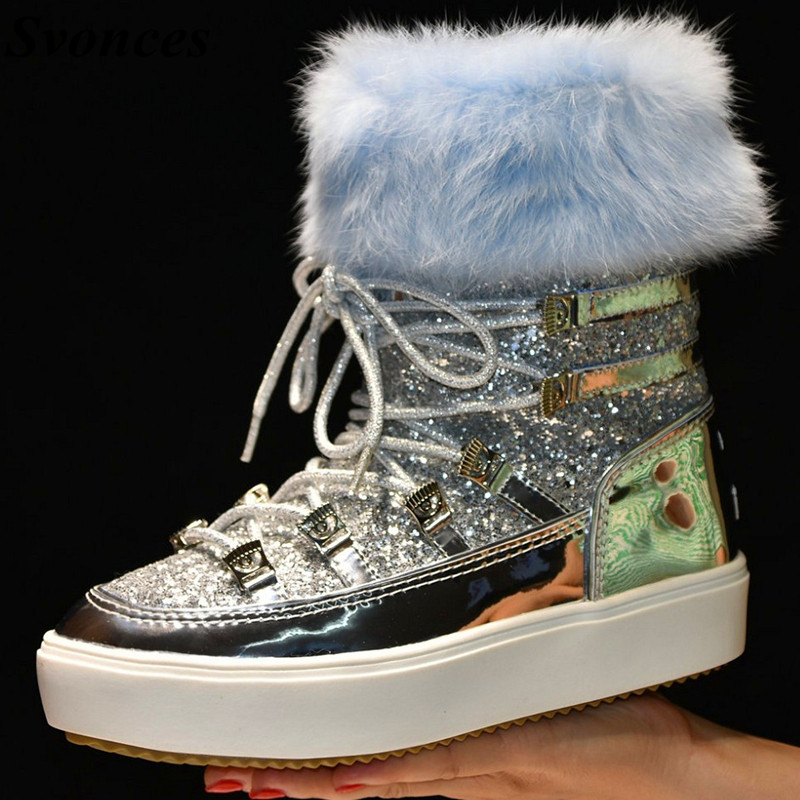 Detail Feedback Questions about Botas Mujer Silver Real Leather Wool Snow  Boots Female Lace Up Short Winter Boots Women Warm Shoes Moon Fur Inside  Platform ... e2568a04003e
