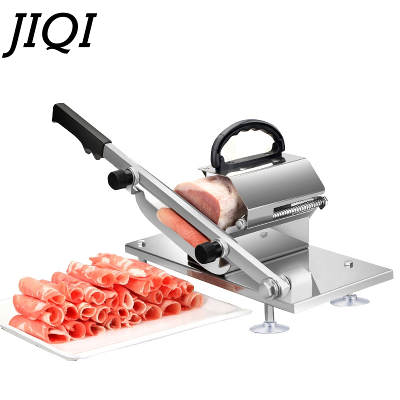 JIQI Meat Slicer Manual Sliced Cutting Machine Automatic Delivery Frozen Beef Mutton Roll Cutter For Kitchen Commercial