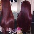 Peruvian Virgin Hair Straight 99J Peruvian Hair 3Pcs Peruvian Straight Virgin Hair Grade 7A Burgundy Red Human Hair Weaves