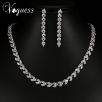 VOGUESS Elegant AAA Zirkoon Bruids Sieraden Sets Bruiloft Sieraden Blad Kristal Zilveren Kleur Kettingen Oorbellen Sets