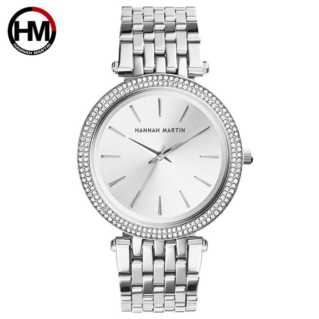 HANNAH MARTIN Luxury Silver Women's Bracelet Watches Steel Strap Ladies Dress Wa