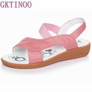 Image 1 - GKTINOO 2020 sandales en cuir véritable pour femmes, été, sandales à talons plats pour femmes, Plus la taille 33 43