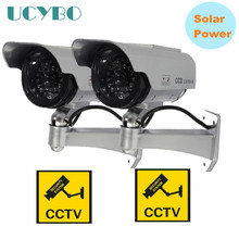 dummy camera Solar Power Simulation fake cctv security cameras Surveillance outdoor waterproof bullet cam w/ led light