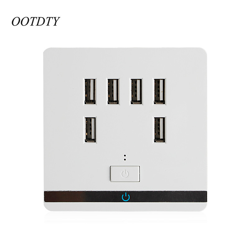 OOTDTY 3.4A 6 Port USB Wall Socket Outlet Charger Power Socket Receptacle Plate Panel Switch