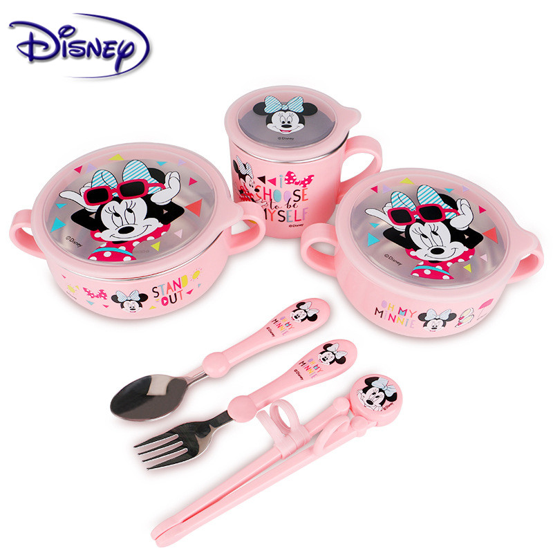 Disney Children's Stainless Steel Cutlery Sets Popular Cartoon Seven-Piece Baby Food Supplement Plate Cup Spoon Fork Set