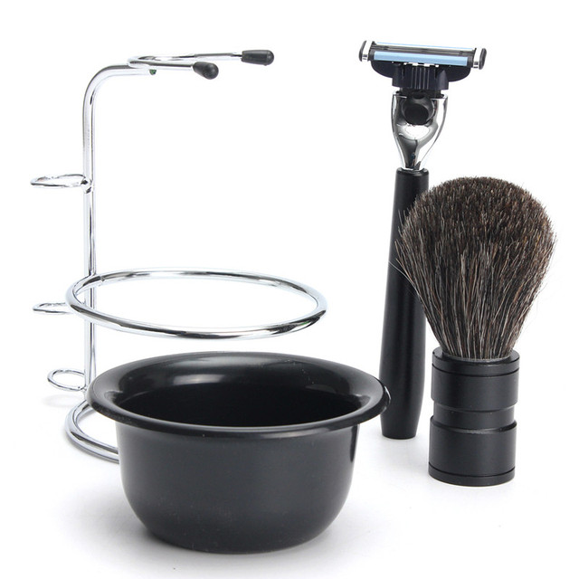 Hot Sale Badger Bristle Shaving Brush+Safty Razor+Plastic Shaving Bowl+Stainless Steel Shaving Stand Shaving Men's Tool Set Kit