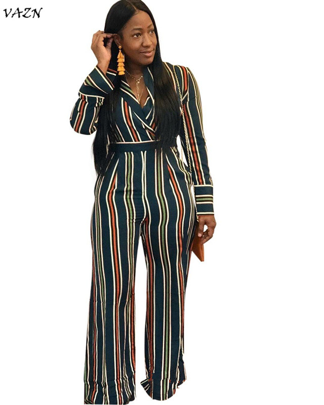 VAZN autumn hot 2018 sexy v-neck   jumpsuits   women striped full sleeve sash   jumpsuits   ladies hollow out wide leg   jumpsuits   MOF5045