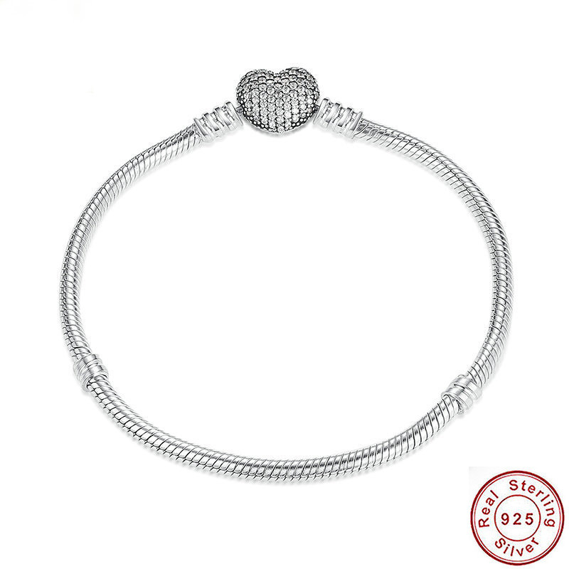 925 Sterling Silver Love Heart Clasp Moments Mesh Bangle Bracelets For Women Girl Fit Original Silver Bracelet Bangle Jewelry mesh heart patched bralette