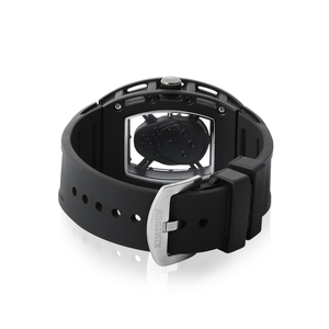 Image 4 - Fashion Tonneau Skeleton Watch Men Hollow Waterproof Skull Watch Male Quartz Silicone Wrist Watch Men Clock erkek kol saati