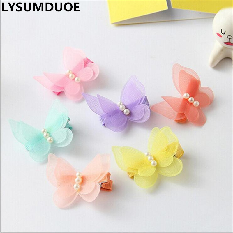 Fashion 4Pcs Chiffon Hairpin Girl Hair Clip Butterfly Barrette Children Pearl Gift Kid Bow Summer Style Jewelry Hair Accessories 1 pc fashion women men the bones of hand hairpin novelty human skeleton fluorescence harajuku hair accessories halloween gift