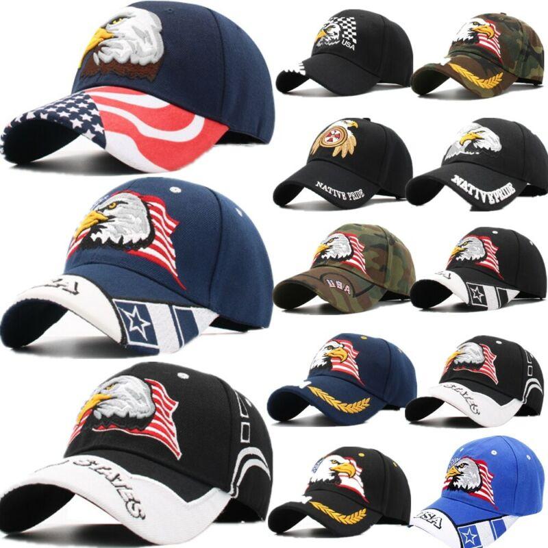 American Flag USA Bald Eagle Patriotic Baseball Cap Adjustable Embroidered