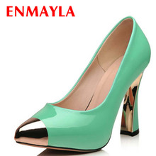 ENMAYER New Platform pumps Design Sexy high golden Heels Shoes women nude Dress Wedding Party Fashion Women Pumps