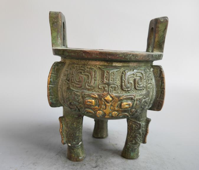Chinese bronze Carving Animal face Incense burner