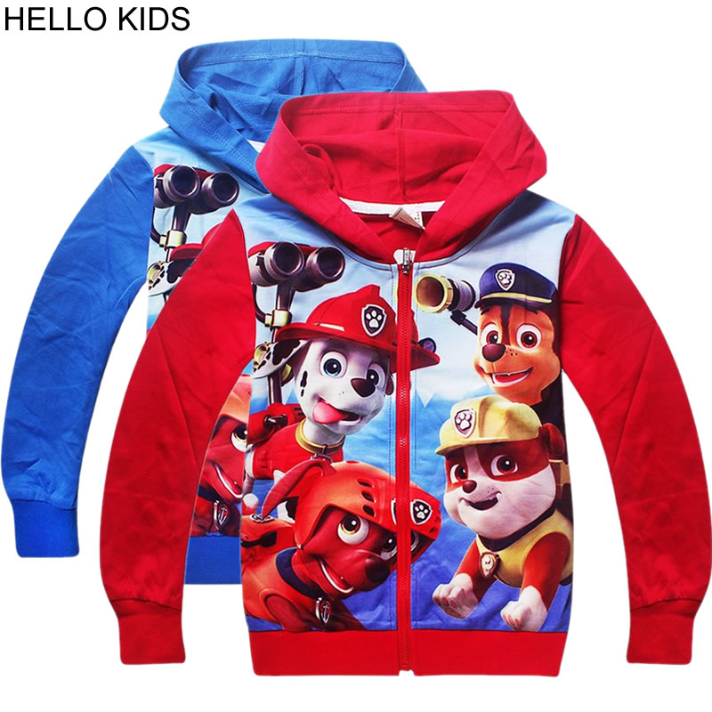 2018 autumn Kids Tshirt Dog Printed Clothes Boys Girls Long Sleeve Sweatshirt Hooded T-shirts Clothing for Children