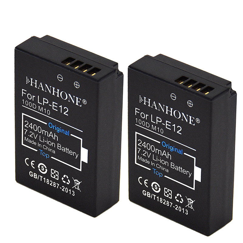 2PCS 2400mAh High Capacity Standard LP-E12 LPE12 LP E12 Camera Battery for Canon EOS 100D Kiss X7 Rebel SL1 EOS M10 DSLR Digital