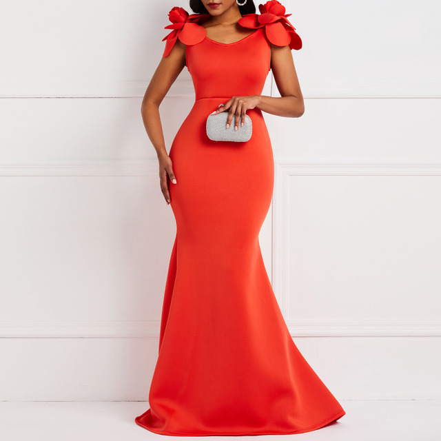 Clocolor Women Sexy Dress Ladies Retro Mermaid Maxi Dress Flower Summer Elegant Stylish Plus Size Bodycon Red Long Party Dresses