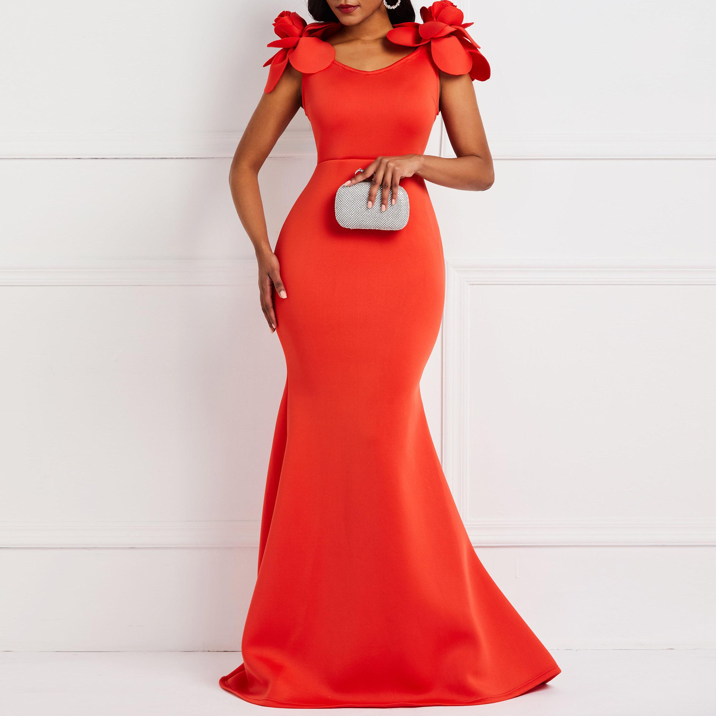 Kadın Giyim'ten Elbiseler'de Clocolor kadınlar seksi elbise bayanlar Retro Mermaid Maxi elbise çiçek yaz zarif şık artı boyutu Bodycon kırmızı uzun parti elbiseler title=
