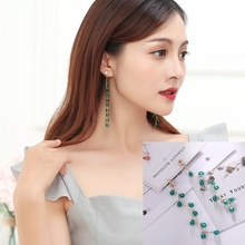 Hot Style Korean Retro Tassel Long Temperament Contracted Crystal Personality Earrings Female Christmas Gift