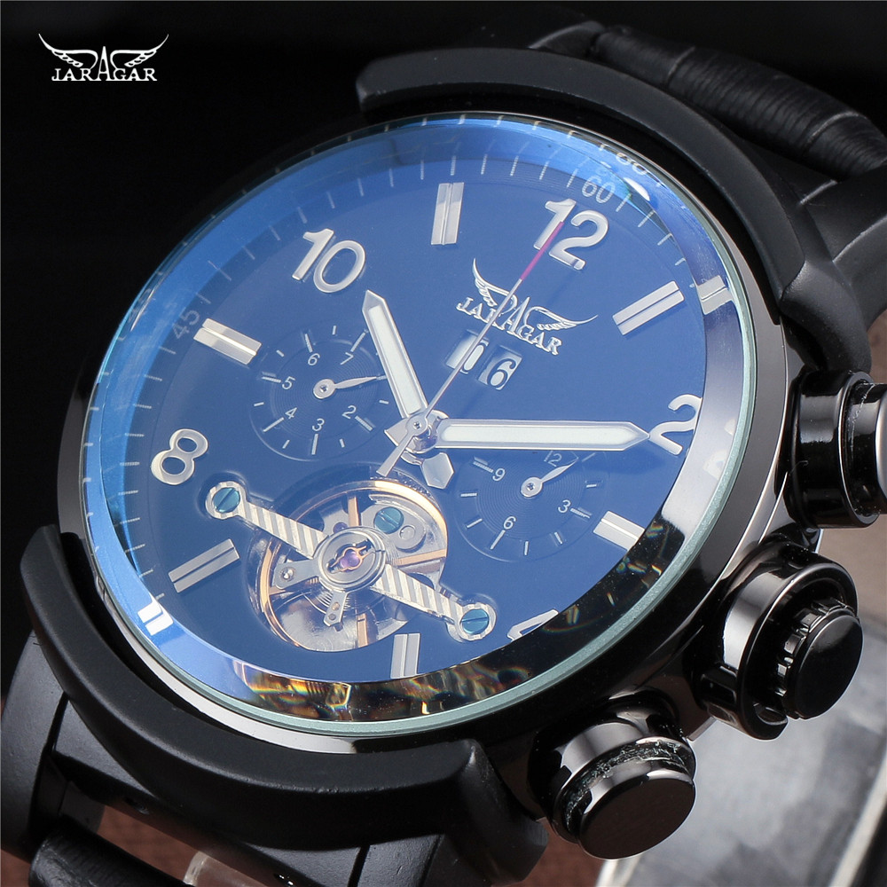 New Classic JARAGAR Day Date Automatic Water Resistant Mechanical Tourbillon Black Leather Band Wrist relogio Men's Dress Watch new forcummins insite date unlock proramm