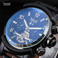 New Classic JARAGAR Day Date Automatic Water Resistant Mechanical Tourbillon Black Leather Band Wrist relogio Men's Dress Watch