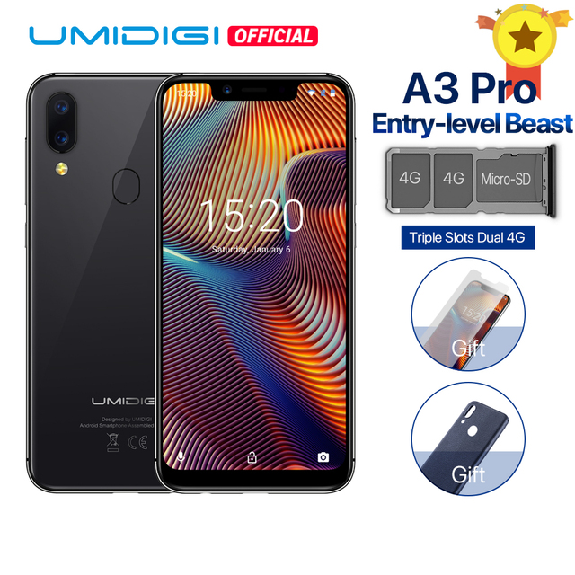 "UMIDIGI A3 Pro 5.7 ""19:9 Smartphone plein écran Android 8.1 3 GB RAM MT6739 Quad core 12MP + 5MP Face déverrouillage double 4G 3 emplacements 3300 mAh"