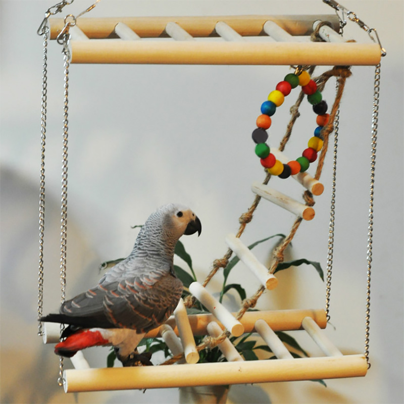 Small Parrot Toys Atural Wood Rat Toy Bridge Ladder Hamster Bird Cage Accessories Parrot Ladders Climbing Hanging Stand Ladders