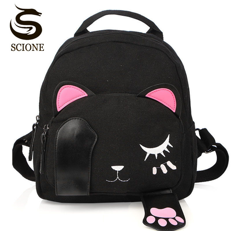 Cute Cat Backpack Women Small Canvas Backpack For Teenage Girls Bags Funny Rucksacks Students Travel Bagpack 2018 Kawaii Mochila vintage cute owl backpack women cartoon school bags for teenage girls canvas women backpack brands design travel bag mochila sac
