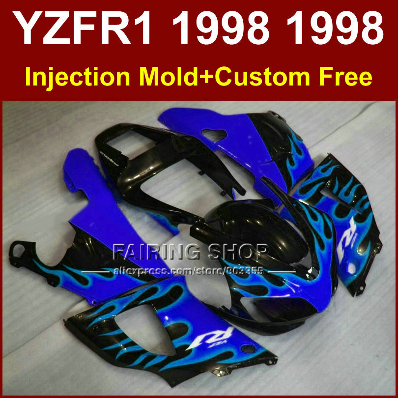 Burning blue black bodyworks for YAMAHA  YZF R1 YZF1000 98 99 R1 1998 1999 YZF R1  fairings kits ABS plastic  body repair parts xeltek private seat tqfp64 ta050 b006 burning test