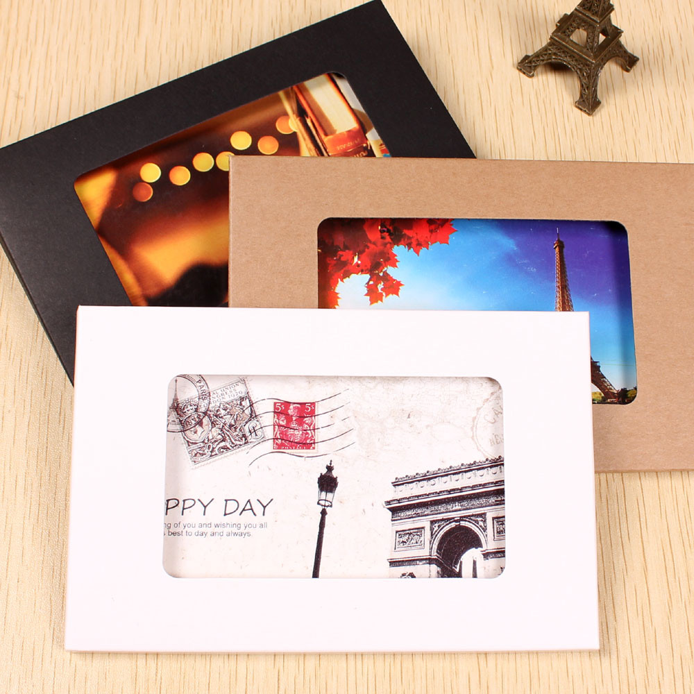 Wholesale 10.2*15.5*0.5cm Foldable Kraft Paper Postcard Box With Window For Photo Display Greeting Card Party Packing Window Box
