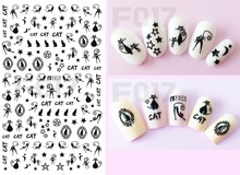 1pcs 3D Super Thin Nail Stickers Tips Nail Art Adhesive Decals Manicure Decoration Black Pussy Cat Star Nail Wraps F017b