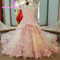 2017 New Arrival Pink Flower Girls Dresses Appliques Crystal Sleeveless Tulle Pageant Dresses For Girls Long