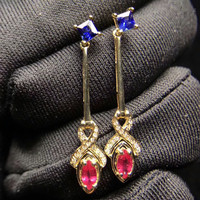 Hot Sale New Fashion Gemstone Earrings MEDBOO 18k Yellow Gold Inlaying Natural Blue Sapphire And Red