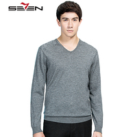 Seven7 Mens Knitted Sweaters Casual Slim Fit Pullover Men V Neck Cashmere Wool Sweater Male Winter