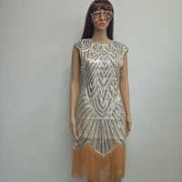 2017 Summer Vintage 1920s Flapper Great Gatsby Sequin Fringe Party Dress Plus Size Dress Women Clothing