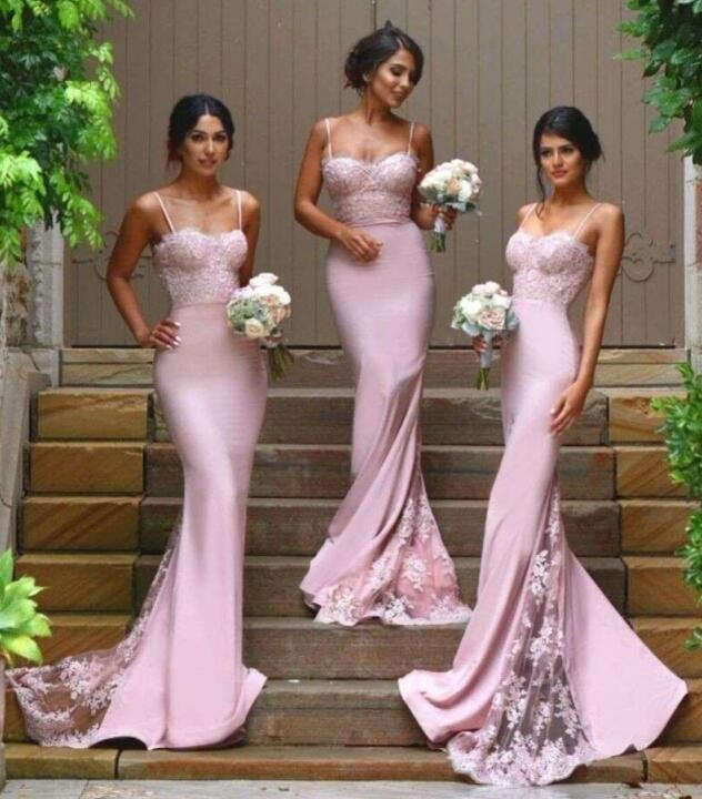 Backless Cheap Bridesmaid Dresses Under 50 Mermaid Sweetheart Appliques Lace Long Wedding Party Dresses For Women