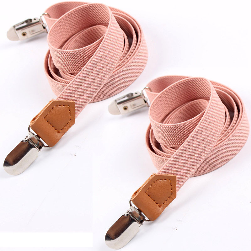 European And American Fashion Business Suspenders Leather Four-clip Narrow Two Separate Shoulder Straps Can Be Adjust FY18110309