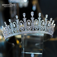 HIMSTORY New Royal Tiaras Crown for Brides Hair Jewelry Shiny Cubic Zircon Bridal Crowns Wedding Tiaras Princess Crown Diadema