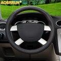 AOSRRUN автомобильные аксессуары  чехол на руль из натуральной кожи для Ford Kuga 2008-2011 Focus 2 2005-2011 C-MAX 2007-2010