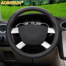 Aosrrun автомобильные аксессуары из натуральной кожи автомобиль рулевого колеса Обложка для Ford Kuga 2008-2011 Focus 2 2005-2011 c-MAX 2007-2010