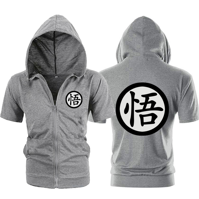 Casual Funny Print Dragon Ball Goku Hoodie Men Black Gray Cosplay Sweatshirt Fashion Short Sleeve Zipper Mens Hoodies Jackets 3