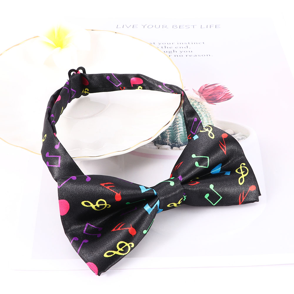 Fashion Men's Tuxedo Adjustable Bow Tie Classic Colorful Musical Note Pattern Two-layer Neck Bowtie Accessories Novelty Cravat