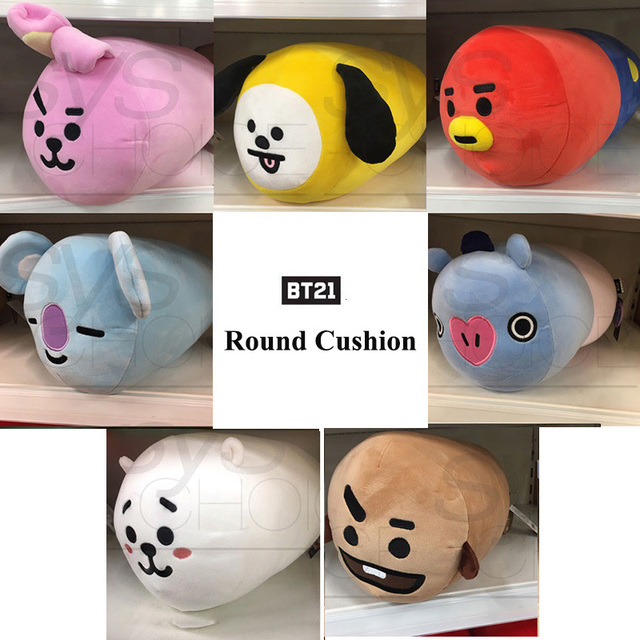 ac1f69004ff3 Kpop BTS Bangtan Boys BT21 Round Cushion Pillow Plush Long Sofa Cushion  Cartoon CHIMMY SHOOKY TATA COOKY Warm Q Doll Home Decor