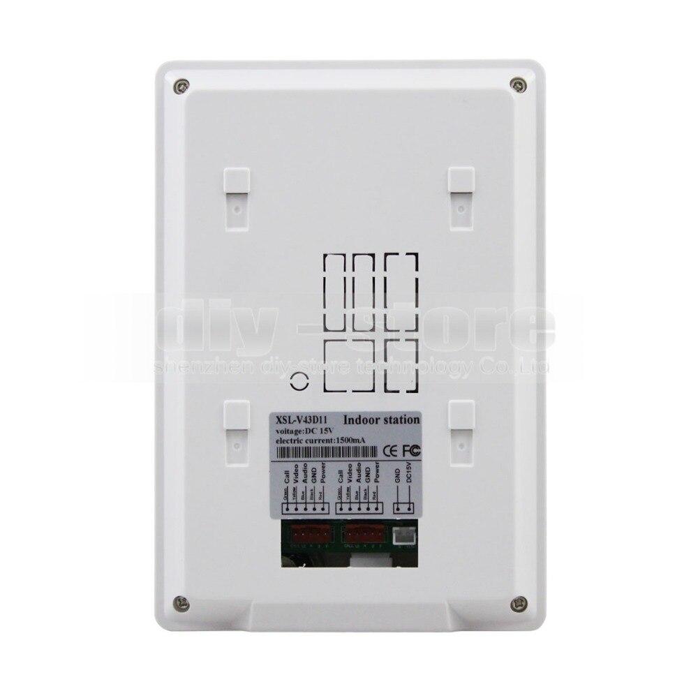 Купить с кэшбэком DIYSECUR 4.3 inch Indoor Monitor + 600 TVLine HD Camera IR Night Vision Video Door Phone Video Intercom 1V5